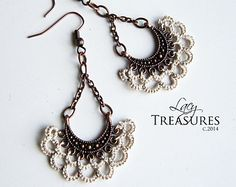 LACE Chandelier Earrings . Chain dangle earrings . Handmade LACE jewelry . Unique gift for mother daughter   ♥ Original design  ♥ Handmade Tatted