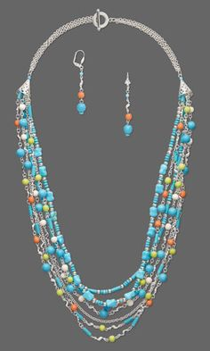Multi-Strand Necklace and Earring Set with Chalk Turquoise Gemstone Beads, Wood Beads and Silver-Plated Brass Links
