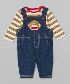 Look at this #zulilyfind! Tan Stripe Top & Blue Sock Monkey Overalls - Infant by Sock Monkey #zulilyfinds