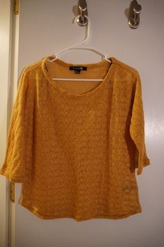 e5cbe13a72c forever 21 mustard three quarter sleeve crochet top size large never worn # fashion #clothing