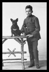 Art Print Boy With French Bulldog New DB-21701