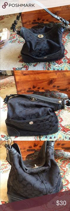 """Coach Purse 20% off bundles this weekend only Black Coach purse. Coach C pattern with leather details. Size: 12"""" wide, 4"""" deep & 10 1/2"""" tall. In good condition, has one spot where the threads have come in-done(see 4th photo). Feel free to ask questions, bundle or make an offer. Coach Bags Shoulder Bags"""
