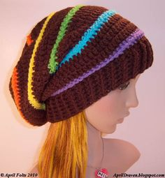 "Great Rainbow & Brown combo** another way to do a ""rainbow"" hat! :-)...pattern for purchase @April Draven.blogspot.com. This was posted on her site on Jan 22,2010. She has MANY free patterns too! Check it out!**"