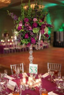 Purple and green tall centerpiece