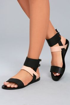 The chicest sandal are the KAANAS Prainha Black Leather Ankle Strap Sandals! Genuine leather forms a toe strap and a contrasting blush quarter strap. Cute Sandals, Cute Shoes, Women's Shoes Sandals, Leather Sandals, Shoe Boots, Gold Sandals, Black Sandals, Ankle Straps, Ankle Strap Sandals
