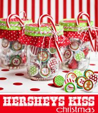 FREEBIE Christmas Hersheys Kiss Stickers and Treat Bag Toppers