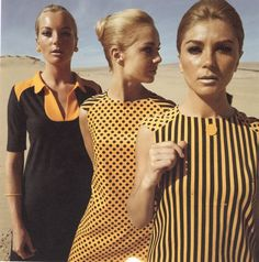 1960s black and orange ~ Mod look, even the hair and makeup