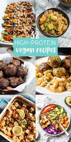 32 High-Protein Vegan Recipes - includes breakfast, lunch, dinner, snack, and dessert ideas! Getting protein on a plant-based diet is important, but actually pretty simple. #highprotein #vegan