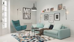 modern living room scandinavian style decor mint sofa geometric pattern carpet floating shelf