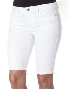 Kensie Jeans Fringed Bermuda Denim Shorts- White Women's White 28
