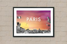 PARIS - Travel Poster - Paris Poster - City Poster - Sunset - City Sunset - Travelling - Travel Art - Eiffel Tower - Home Decor - Wall Art by ArtyPrintsBoutique on Etsy