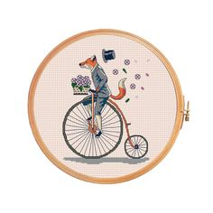 Fox on bicycle rides with speed loses his от PatternsCrossStitch