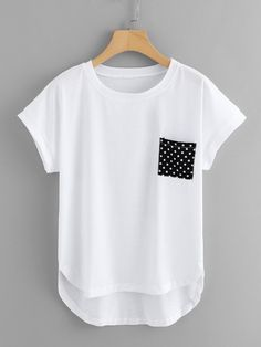 Pocket Patched Dip Hem Tee -SheIn(Sheinside) outfits style summer teenage frauen sommer for teens outfits Cute Blouses, Cute Shirts, Fashion 2020, Fashion Trends, Fashion Fashion, Fashion Ideas, Vintage Fashion, Fashion Black, Trendy Outfits