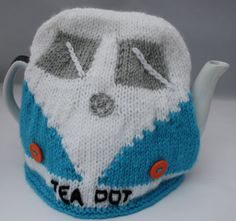 Camper van knitted tea pot cosy hand knitted by sweetygreetings