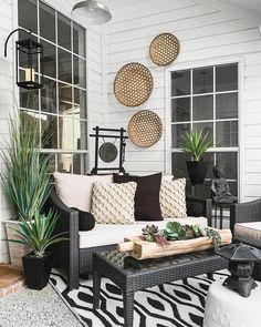 Black and Cream Reversible Indoor Outdoor Rio Floor Mat Backyard Furniture, Porch Furniture, Outdoor Furniture Sets, Furniture Ideas, Wooden Furniture, Wayfair Patio Furniture, Geek Furniture, Furniture Inspiration, Antique Furniture