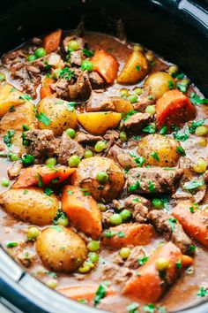 A thick and rich sauce filled with hearty and chunky potatoes, carrots, onions, and peas with the most amazing tender melt in your mouth beef!