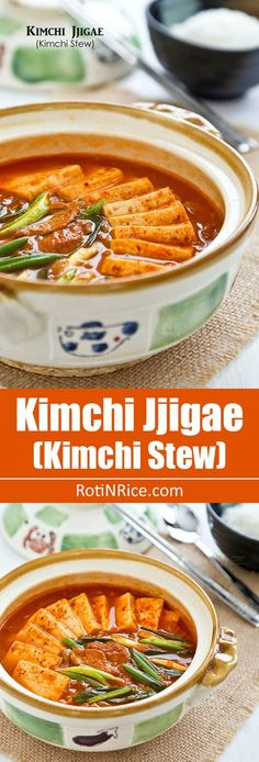Kimchi Jjigae (Kimchi Stew), a popular spicy Korean stew made with fermented Napa cabbage kimchi, pork (or beef), and tofu. Quick and easy to prepare. | http://RotiNRice.com