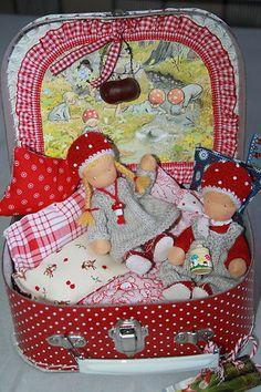Waldorf handmade cloth doll set in suitcase OOAK toadstool children | eBay