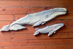Calf 28and Cow 5ft. Gray Whale Chainsaw carving by oceanarts10, $295.00