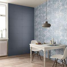 Questa Sala da pranzo è stata realizzata con il colore Blu e decoro Draw della nostra collezione da rivestimento Visual Design. http://www.supergres.com/your-home/rivestimenti/item/925-visual