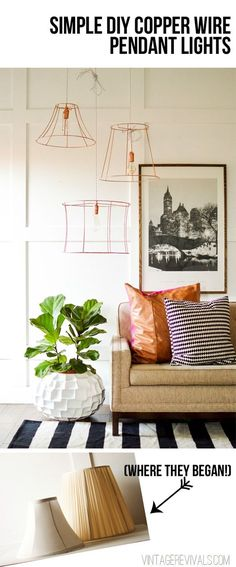 Rock What Ya Got: Upcycled Copper Wire Pendant Lights (from ugly lampshades!)…
