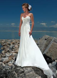 Gossamer Chiffon Strapless Sweetheart Slim A-line Wedding Dress
