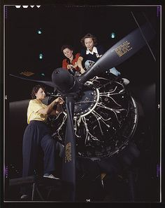 WWII Poster, #WWII, women, airplane factory