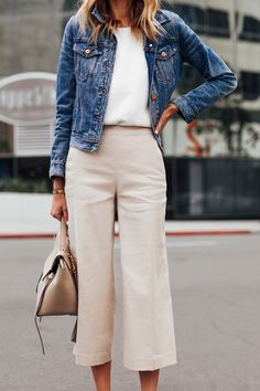 Fashion Jackson Wearing Denim Jacket White Top Ann Taylor Khaki Cropped Pants