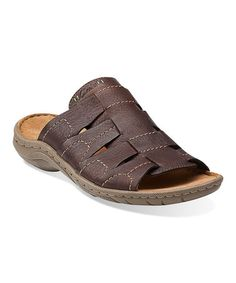 19ea597fca7 Clarks Dark Brown Woodlake Easy Leather Sandal. Mens Slip ...