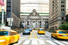 Yellow cab traffic in NYC Royalty Free Stock Photo