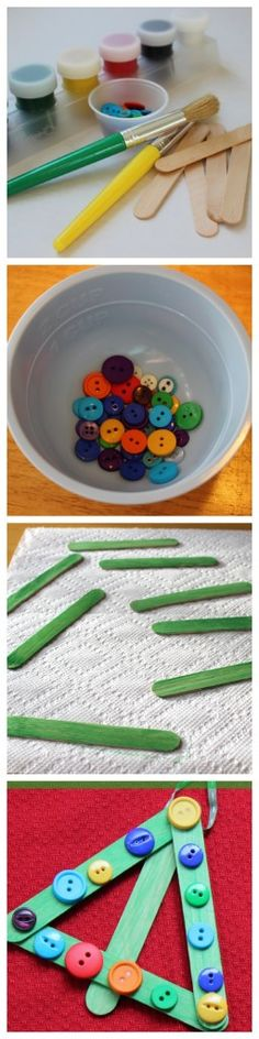 Kids Christmas Craft: Button Trees - Family Food And Travel