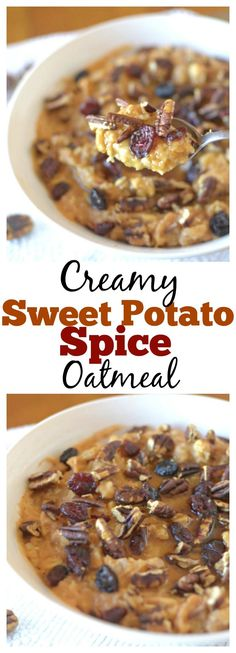 This Creamy Sweet Potato Spice Oatmeal topped with crunchy pecans, tart cranberries and a sweet drizzle of pure maple syrup is a delicious and healthy dessert for breakfast! #healthy #vegan #glutenfree