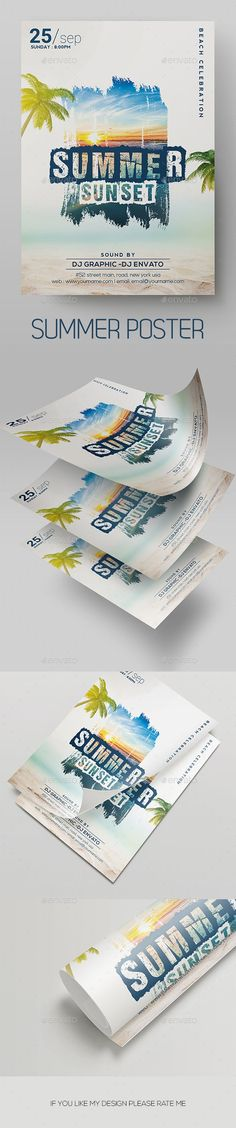 Summer Flyer #summer #4.25x6.25 Summer Sunset, Spring Summer, Summer Poster, Print Design, Graphic Design, Event Flyer Templates, Poster Ads, Party Flyer, All Fonts