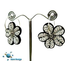 Polka dot flower earrings