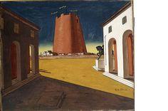 Giorgio De Chirico, piazza d'Italia con torre rossa, 1934, MART Rovereto