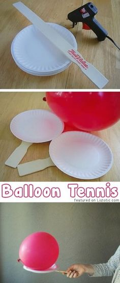 Balloon Tennis using paper plates and paint sticks. Can decorate the paper plate before adding paint stick.