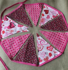 Fabric Banner - Fabric Bunting - Pink and Black Valentine's Day by monkeyandlamb on Etsy