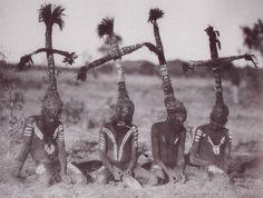 head ornaments of grass and feathers complete ancient aboriginal costumes for the wild duck dance at a corroborree, Central Australia   National Geographic 1931