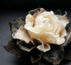 Caramel Coffee Cream Felt Flower Brooch by Brigite on Etsy