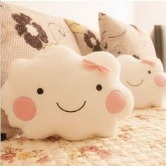 Kawaii Smiley Face Bow Cloud 100% Cotton Stuffed Back Cushion Seat Cushion Plush Toy Retail for girl best gift christmas gift