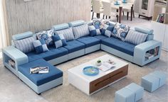 Most Popular Living Room Design Ideas Living Room Sofa Design, Couch Design, Living Room Modern, Living Room Interior, Living Room Designs, Corner Sofa Living Room, U Shaped Sectional Sofa, U Shaped Sofa, Sofa Set Designs