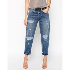 ASOS Low Slung Straight Leg Boyfriend Jeans With Rip and Repair... (23 AUD) ❤ liked on Polyvore