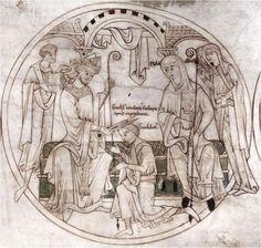 Saint Guthlac being tonsured under the oversightof his abbess, Ælfthryth
