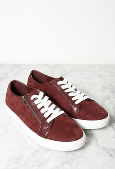 Faux Suede Zippered Sneakers | Forever 21 - 2000157605