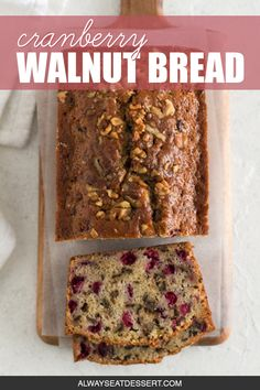 A little tangy, a little crunchy, and totally delicious, this cranberry walnut bread is an easy sweet bread recipe that's perfect for the holidays! Holiday Bread, Christmas Bread, Christmas Dishes, Holiday Baking, Cranberry Walnut Bread Machine Recipe, Cranberry Bread, Cranberry Recipes, Breakfast Items, Morning Breakfast