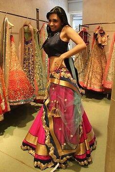 Bollywood Trendy Luxurious Lehenga Choli with Chiffon Dupatta Silk Blouse Indian Wedding Outfits, Indian Outfits, Wedding Attire, Wedding Dresses, Ethnic Fashion, Indian Fashion, Women's Fashion, Simple Lehenga, Indian Attire