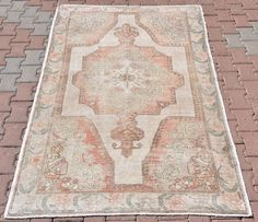 Turkish Anatolian Oushak Vintage Unique Handmade Pastel Cream Color Rug Medium Kitchen Floral Pure wool area Home Office Rug 84'' x 53'' by VinArtStore on Etsy https://www.etsy.com/listing/482081451/turkish-anatolian-oushak-vintage-unique