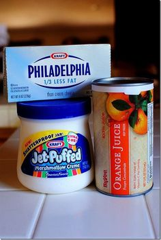 Amazing Fruit Dip w/ 3 ingredients: Cream cheese, marshmallow fluff, and OJ concentrate ~ from iowagirleats.com