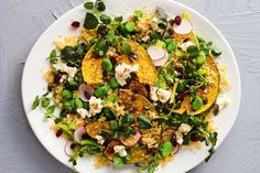 Persian feta, dried cranberries and dukkah give this hearty quinoa salad an authentic Middle Eastern flavour. Easy Salads, Summer Salads, Cooking Broad Beans, Crunchy Noodle Salad, Pumpkin Salad, Pumpkin Quinoa, Bean Salad Recipes, Lunch Recipes, Salad Topping