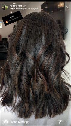 Dark root/ natural black with baby lights. Highlights For Dark Brown Hair, Brown Hair Balayage, Hair Color For Black Hair, Brown Hair Colors, Hair Highlights, Dark Hair, Shoulder Length Hair Balayage, Mom Hairstyles, Haircuts